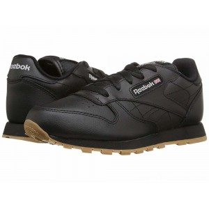 Reebok Kids Classic Leather (Little Kid) Black/Gum - Sale
