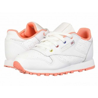 Reebok Kids Classic Leather Perf (Infant/Toddler) White/Pink/Teal/Aubergine - Sale