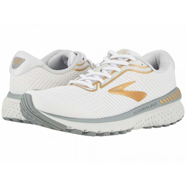Brooks Adrenaline GTS 20 White/Grey/Gold - Sale