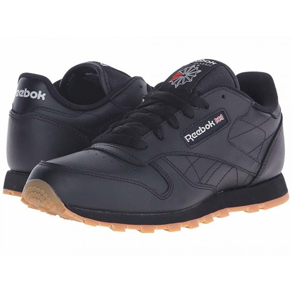 Reebok Kids Classic Leather (Big Kid) Black/Gum - Sale