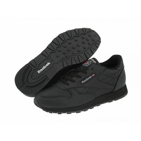 Reebok Kids Classic Leather (Big Kid) Black - Sale