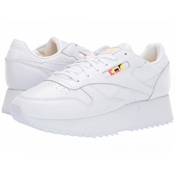 Reebok Lifestyle Classics Leather Double Gigi-White/Neon Red/Black - Sale