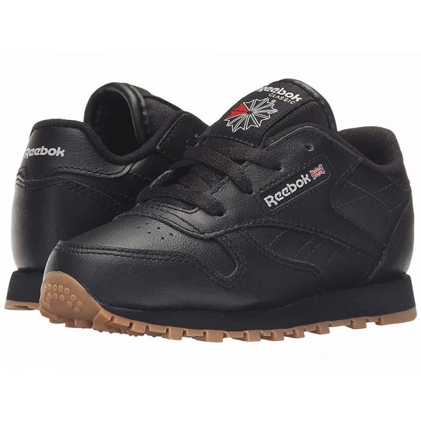 Reebok Kids Classic Leather Gum (Infant/Toddler) Black/Gum - Sale