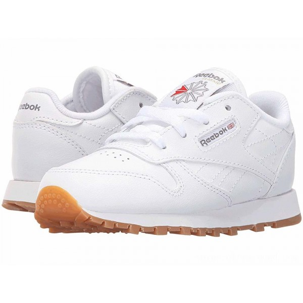 Reebok Kids Classic Leather Gum (Infant/Toddler) White/Gum - Sale