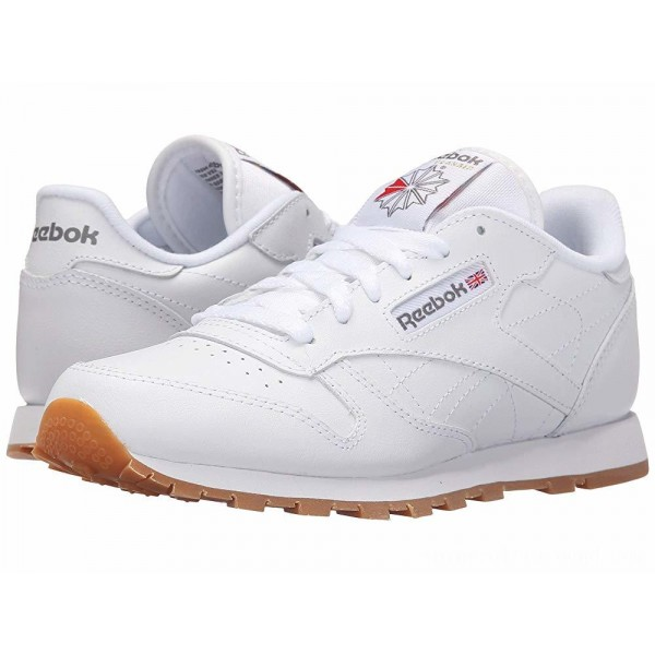Reebok Kids Classic Leather (Big Kid) White/Gum - Sale