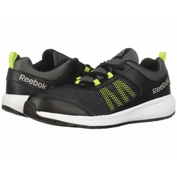Reebok Kids Road Supreme (Little Kid/Big Kid) Black/Alloy/Lime/White/Pewter - Sale